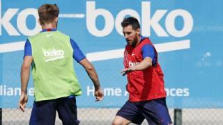 Leo Messi trenuje