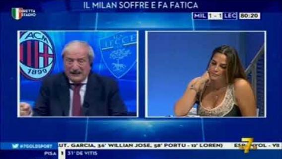 Reakcja Tiziano Crudeli na gol Piątka w meczu Ac Milan US Lecce