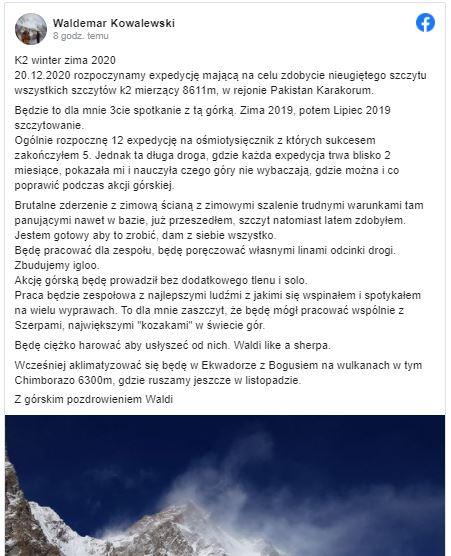 K2 Waldemar Kowalewski Facebook
